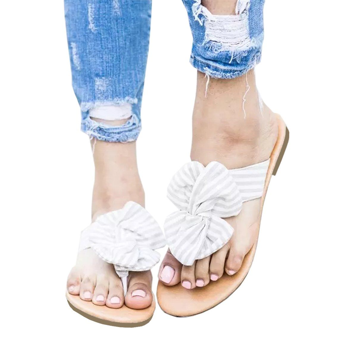b858e27ed Womens Sandals Flat Stripped Bow Slider Gladiator Open Toe Thong Flip Flop  Casual Summer Shoes -- Do hope you actually enjoy the photo.