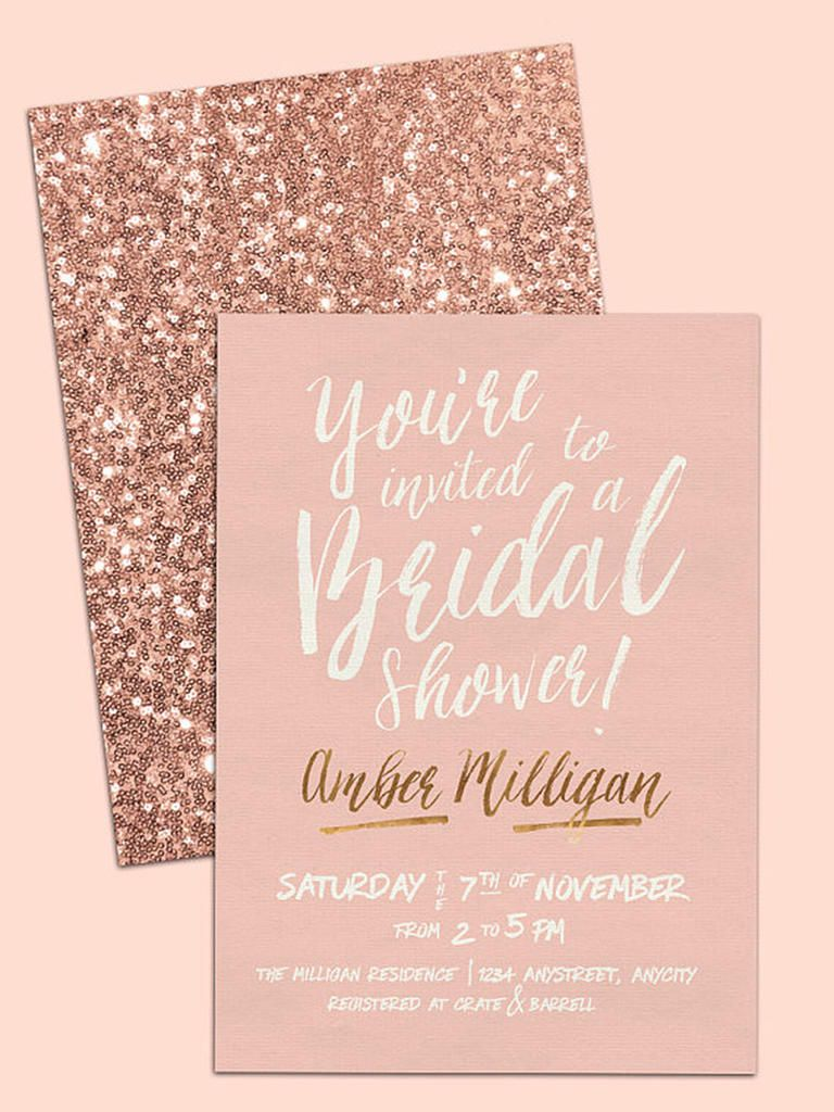3b2a72a2e783 Rose gold is all the rage—select rosy sequin bridal shower invitation  templates for a printable DIY invitation option.