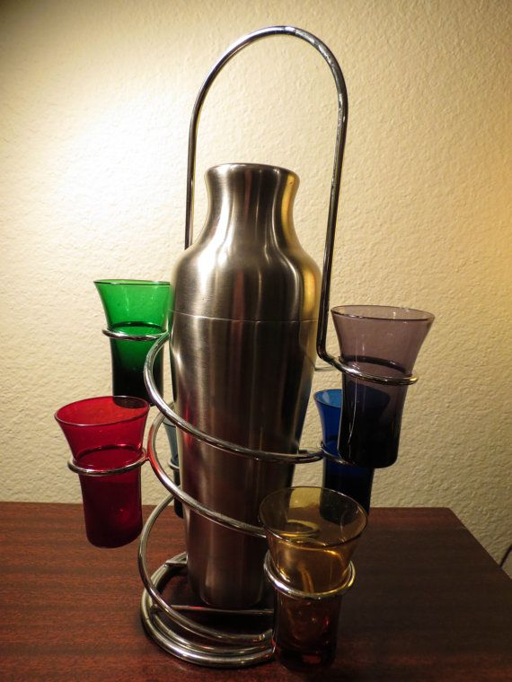 Retro Stainless Steel Portable Bar Caddy With Martini Shaker And Six  Colored Shot Glasses On Etsy