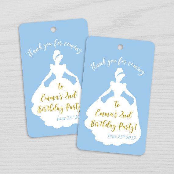 Party Favor 2.5 Cinderella Party Thank You Tags Cinderella Favor Tags Sticker Cinderella Stickers Tag Cinderella Birthday