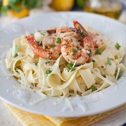 Shrimp with Lemon & Garlic Sauce over Pappardelle Pasta