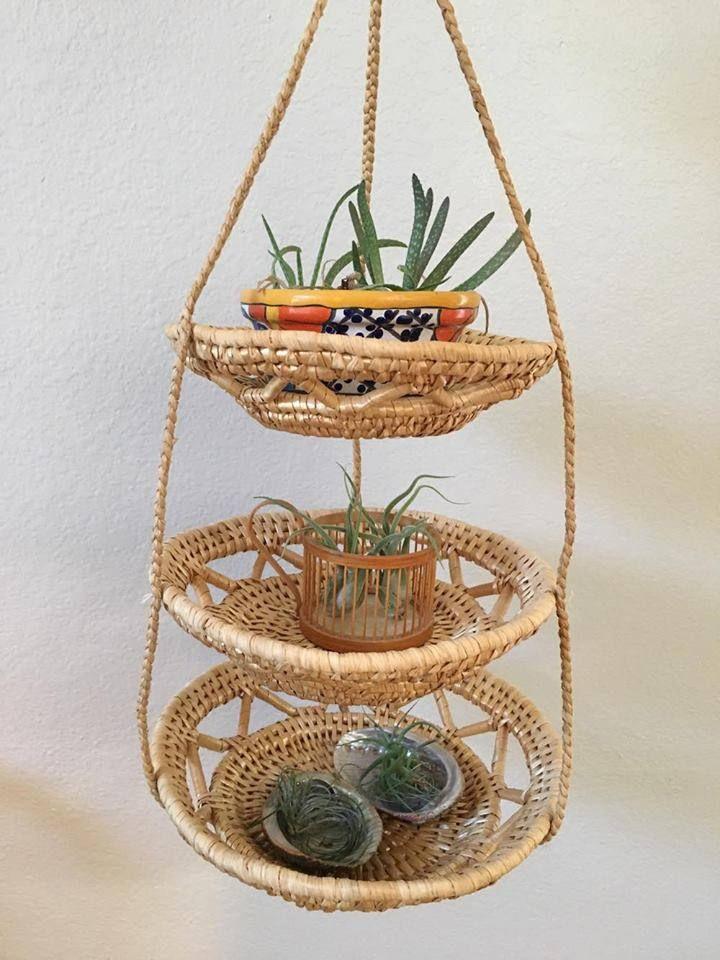 Vintage Woven Rattan 3 Tier Hanging Basket By Ljlovelyday On Etsy Hanging Baskets Handmade Macrame Plant Hanger