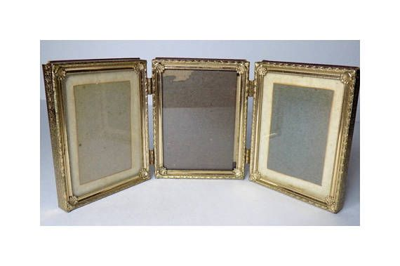 1960s Folding Brass Picture Frame Metal Glass Covered Holds ...