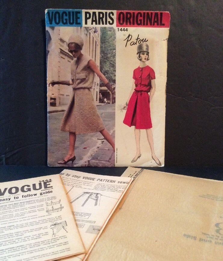 Vogue Paris Sewing Pattern Patou Vtg 1960s Dress 14 34 36 A Line Knee Uncut FF | eBay
