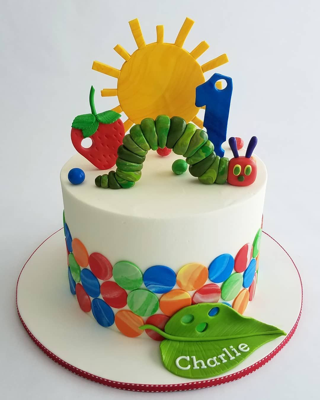 """Hope Windham Crocker on Instagram: """"Sweetest little book with all the fun colors! The Very Hungry Caterpillar is one of my favorites and I had so much fun creating this cake…"""""""