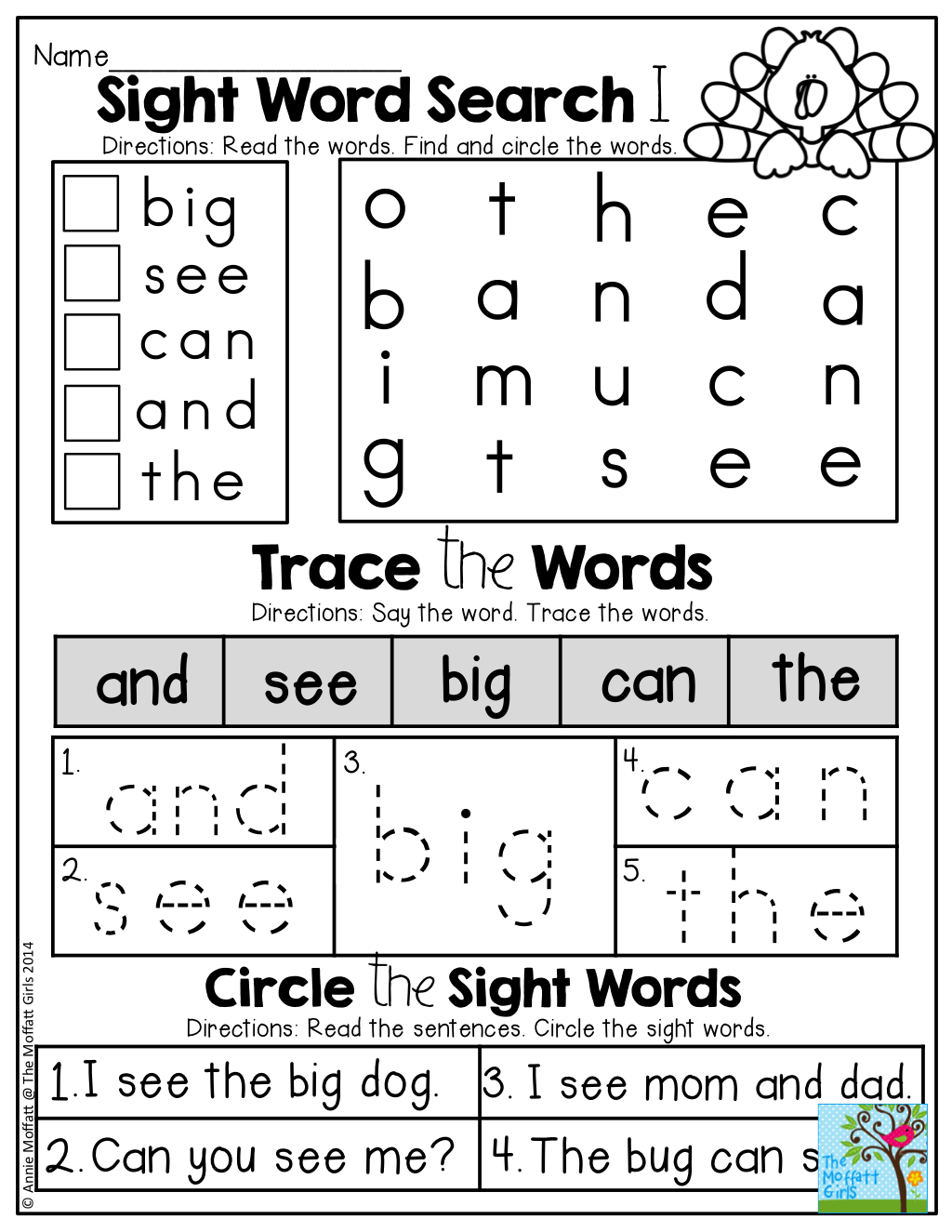 SIGHT WORDS! Find the sight words, trace the sight words and circle ...