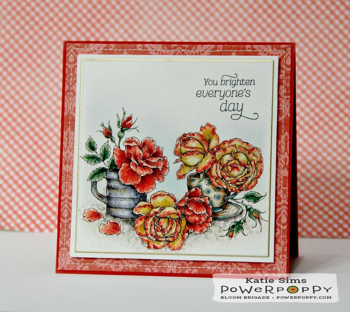 Everything's Rosy digital stamp by Power Poppy. Card by Katie SIms.