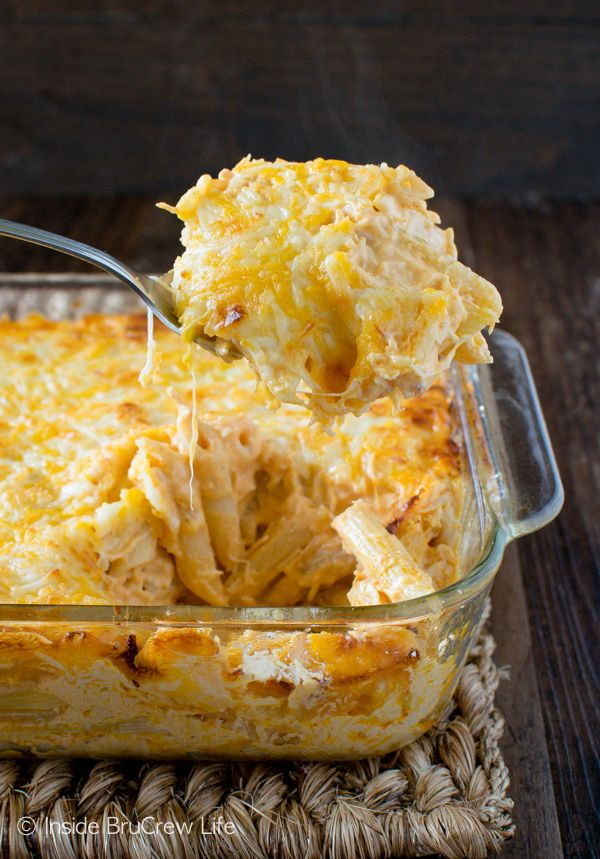 A Layer Of Cheese Baked On Top Of This Buffalo Chicken Pasta Bake Will Have Everyone