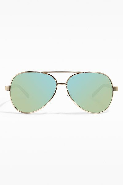 ef7201dac Luxe Classic 60mm Color Mirror Aviator Sunglasses - Gold/Green - 5511-4