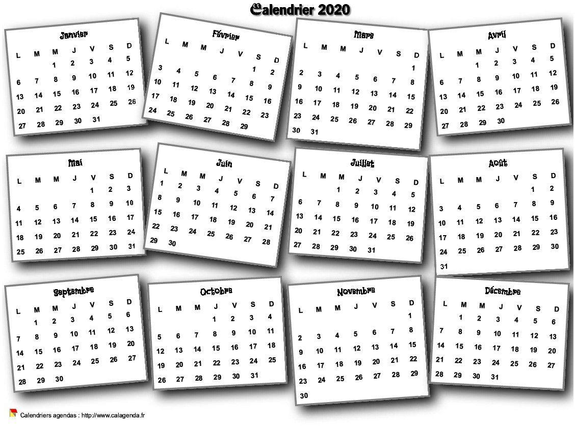 Calendrier 2020 Annuel 3d Pele Mele Calendrier Imprimable Calendrier Calendrier Personnalise