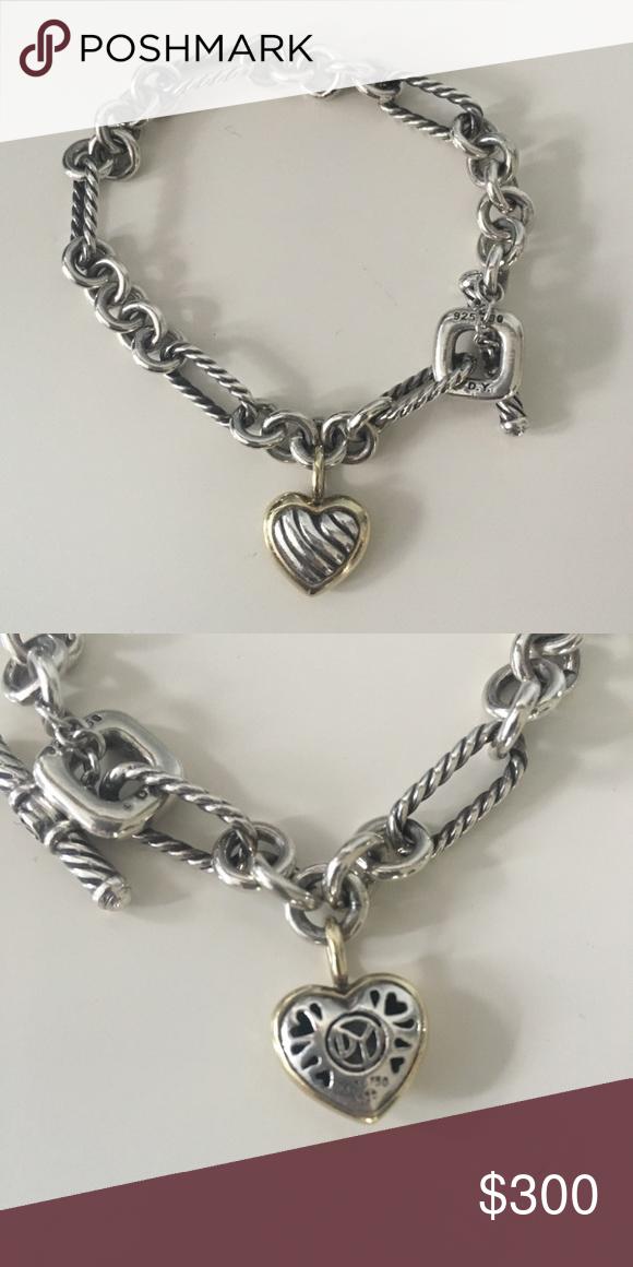 David Yurman Heart Charm Bracelet Silver Cable 18k Gold Detail Bundle For Best Price Jewelry Bracelets