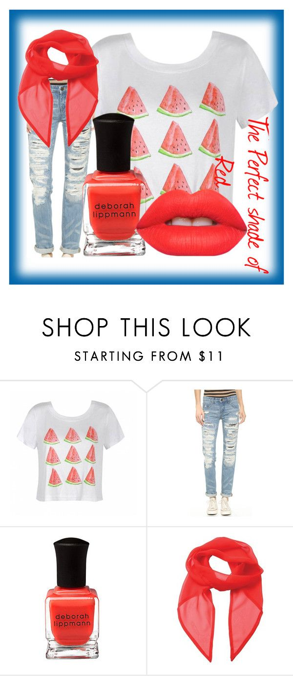 """The perfect red"" by fallinginlovewithlove on Polyvore featuring Ally Fashion, Blank Denim, Deborah Lippmann and Lime Crime"
