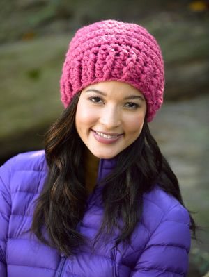 Free Crochet Pattern Perfectly Simple Crochet Hat Lion Brand® Wool-Ease®  Thick   Quick® dbb2d2a6b62