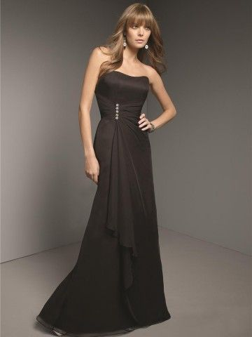 (NO.020676 )Sheath / Column Strapless Beading  Sleeveless Floor-length Chiffon Black Prom Dress / Evening Dress