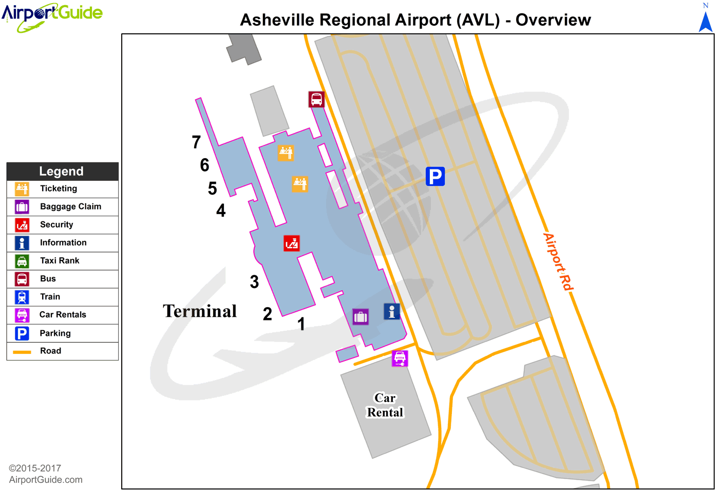 Asheville Asheville Regional Avl Airport Terminal Map Overview Airport Guide Avl Map