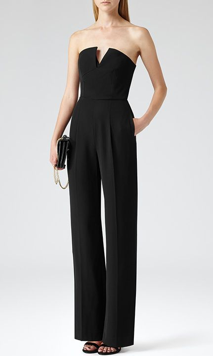 25d8dc9cc65e Reiss Kriss Women s Bustier Top Formal Jumpsuit in Black