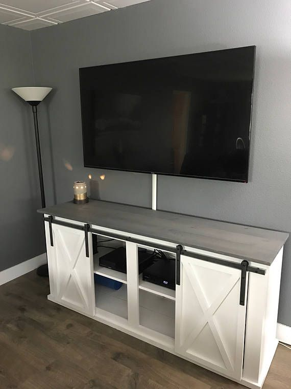 tv stand with doors Barn Door TV Stand / Media Console in 2018 | Home sweet home  tv stand with doors