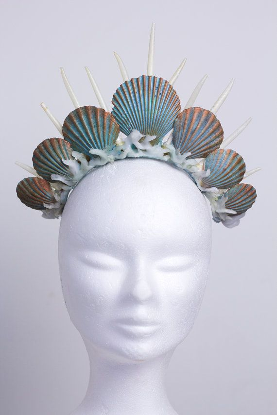 mermaid crown tiara headdress turquoise by Fairytas on Etsy #crowntiara