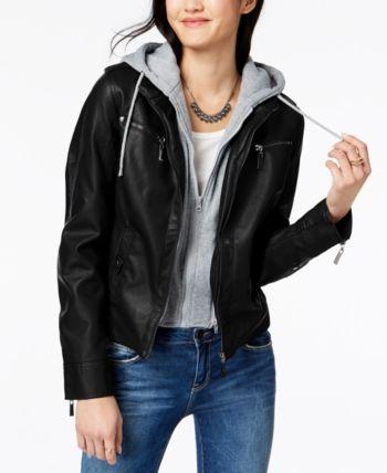 Jou Jou Juniors/' Faux-Shearling Hooded Jacket