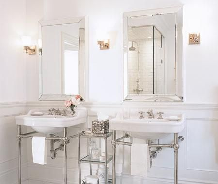 Website With Photo Gallery Chic white bathroom design with polished chrome washstands beveled mirrors u