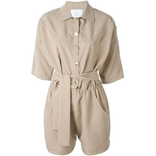 Carolina Ritzler belted shortsleeved playsuit (355 AUD) ❤ liked on Polyvore featuring jumpsuits, rompers, dresses, shorts, beige, playsuit romper, pink romper, pink rompers, short sleeve rompers and short sleeve romper