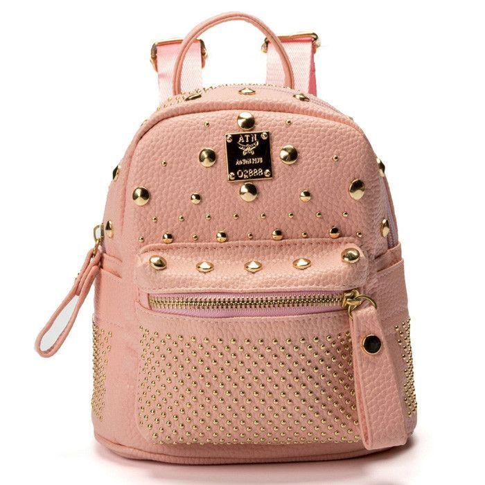 75bfa9cb32 Fashion Lady s PU Leather Mini Backpacks Casual Rivets Rucksack Colloge  Style Small Bag Daypacks Mochila Feminina