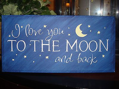 Love Decor Signs Best I Love You To The Moon And Back Canvas Sign Stars Moon Love Decor Decorating Design