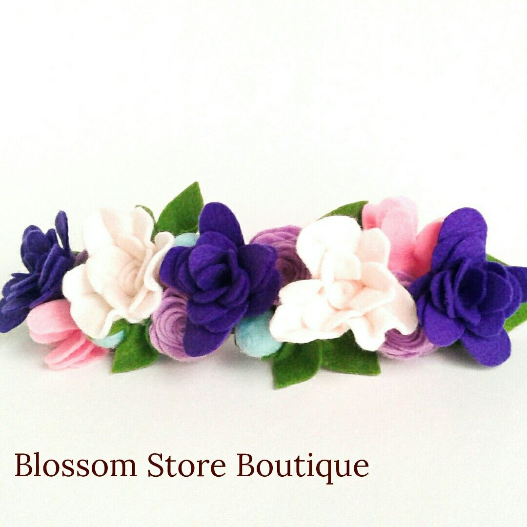Baby felt flower crown headband Flower girl proposal Newborn girl crown Baby girl flower crown purple white blue 1st bithday floral crown