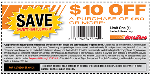 photograph about Gnc Printable Coupons 10 Off 50 named $10 off order of $50 or a lot more at AutoZone coupon by means of The