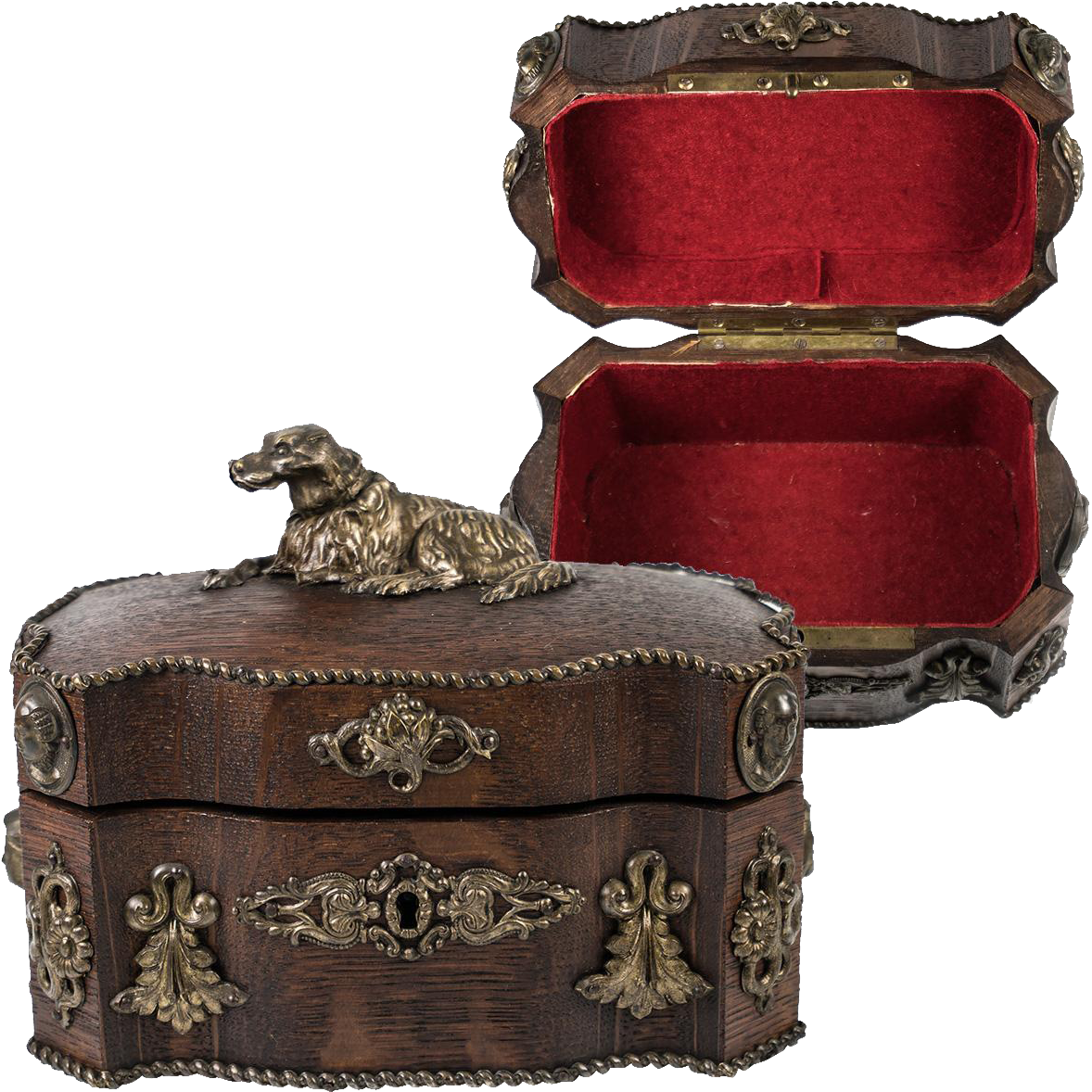 Antique French Jewelry Box Casket with Dog and Figural Appliques on