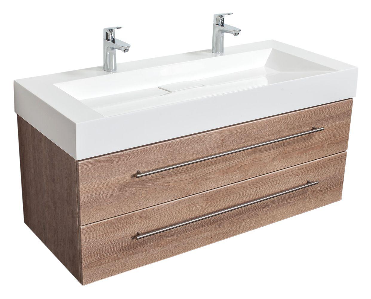 Meuble Double Vasque Design 1200 Decor Chene Badezimmerwaschtisch Bad Doppelwaschtisch Unterschrank