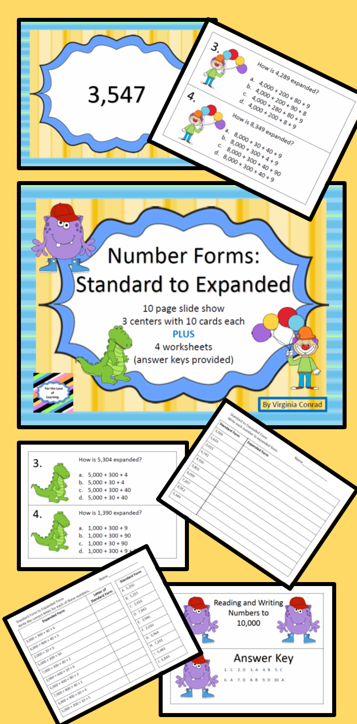 Standard to expanded form 4 digits centers slide show and slide show centers and worksheets to get kids converting standard form numbers to expanded falaconquin