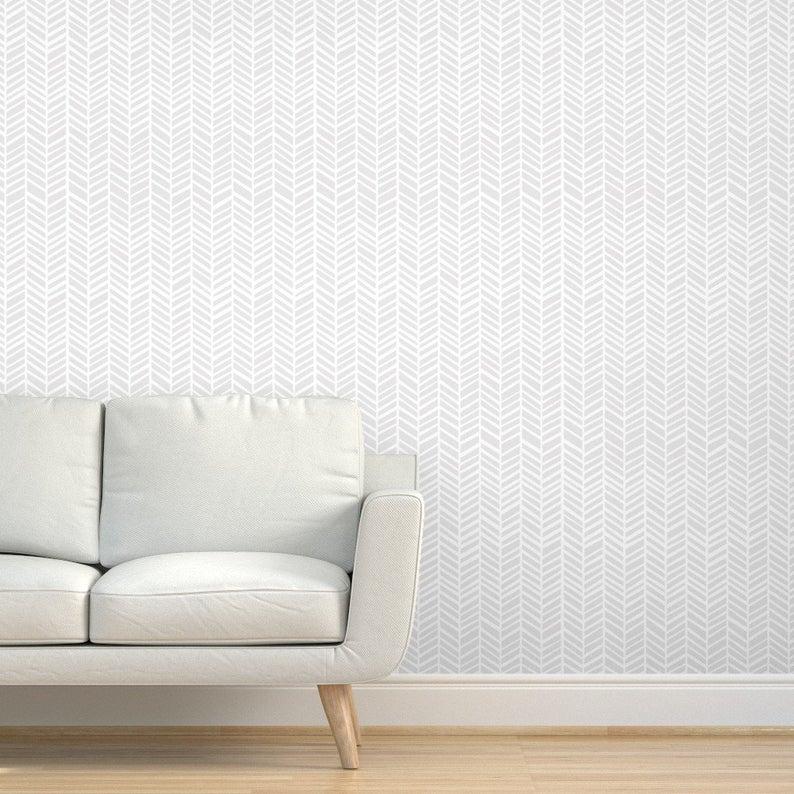 Gray Herringbone Wallpaper Herringbone Light Grey By Friztin Etsy Grey Herringbone Wallpaper Herringbone Wallpaper Chevron Wallpaper