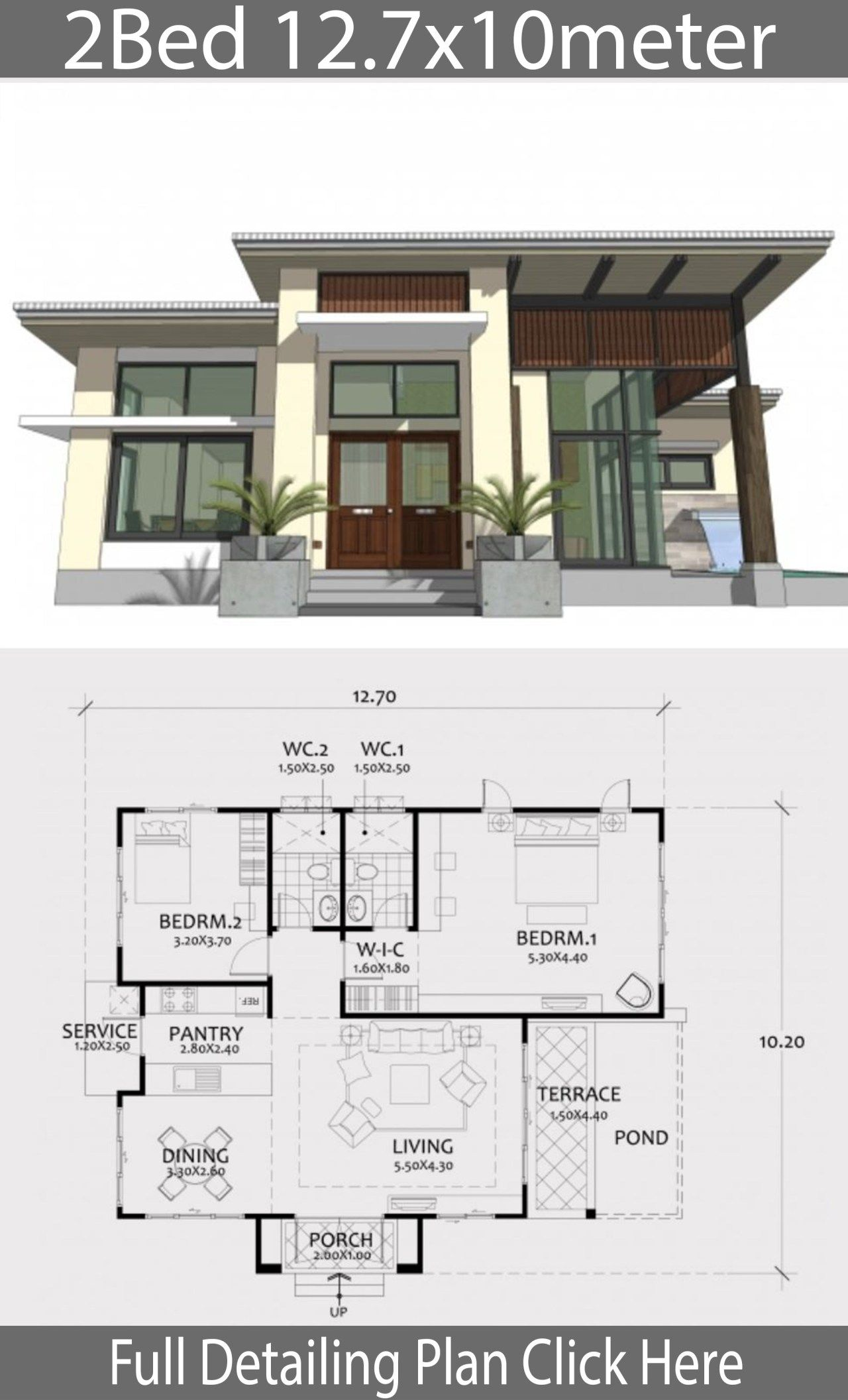 Home Design Plan 12 7x10m With 2 Bedrooms Home Ideas Small House Design Home Design Plan Bungalow House Design