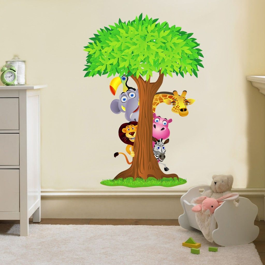 safari animals tree decal removable wall sticker home decor art nursery bedroom removable wall. Black Bedroom Furniture Sets. Home Design Ideas