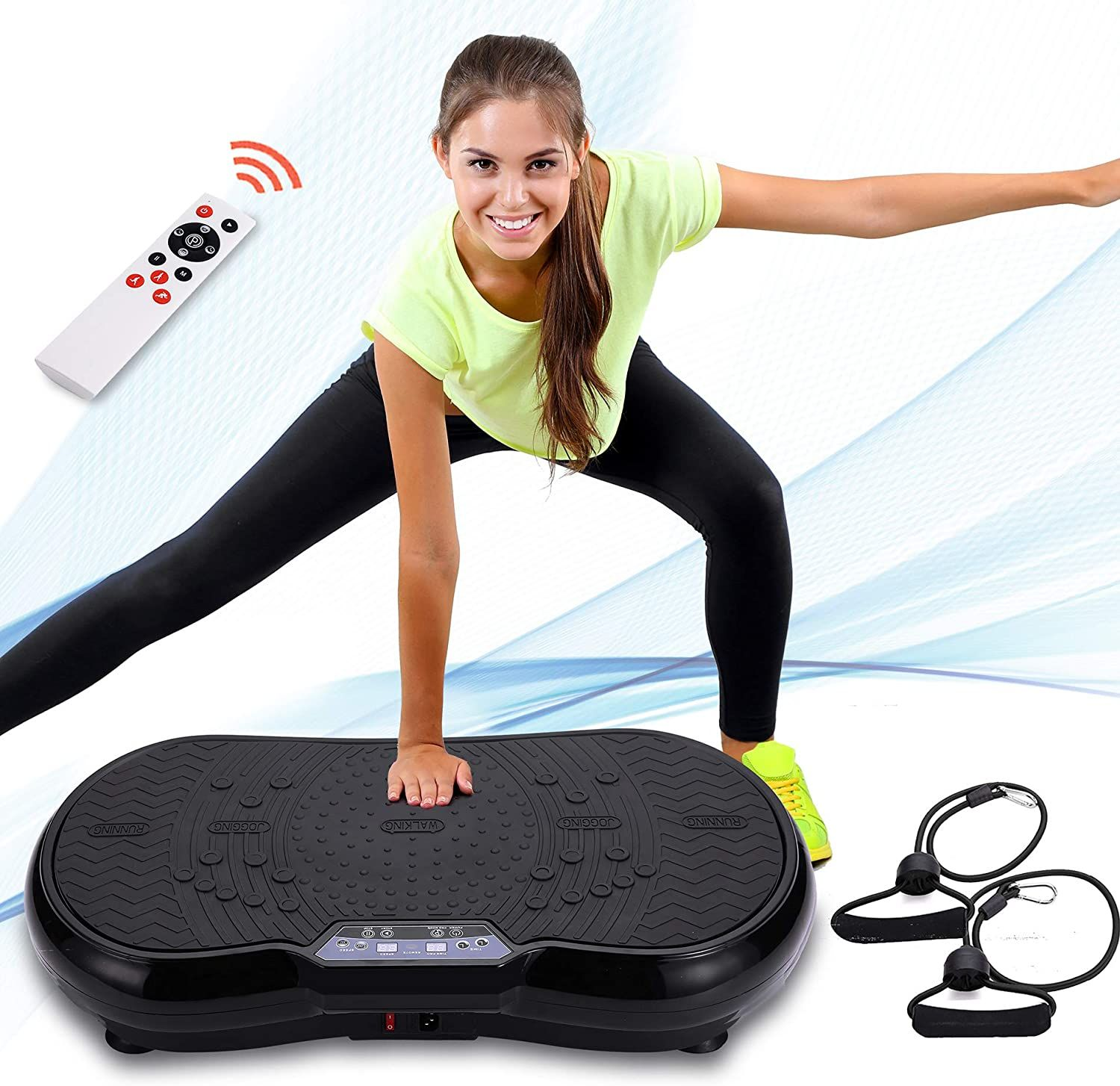 Whole Body 3 Motor 4D Motion Technology SereneLife SLVBX4 Vibrating Platform Exercise Passive Workout Trainer Weight Loss /& Shaping Resistance Band Standing 4D Vibration Plate Exercise Machine