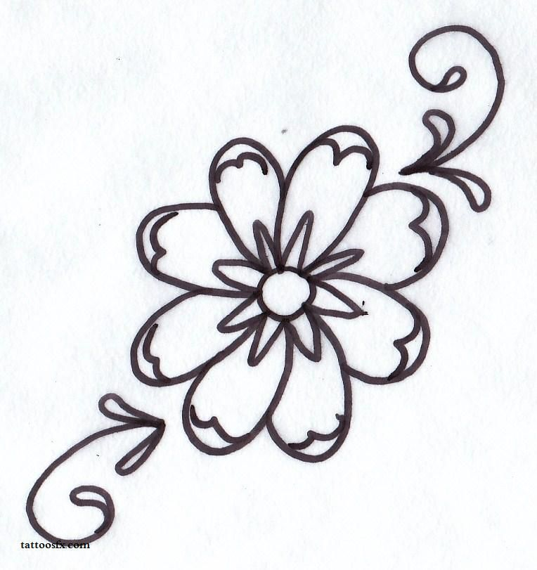 simple flower and heart tattoo designs images | designs