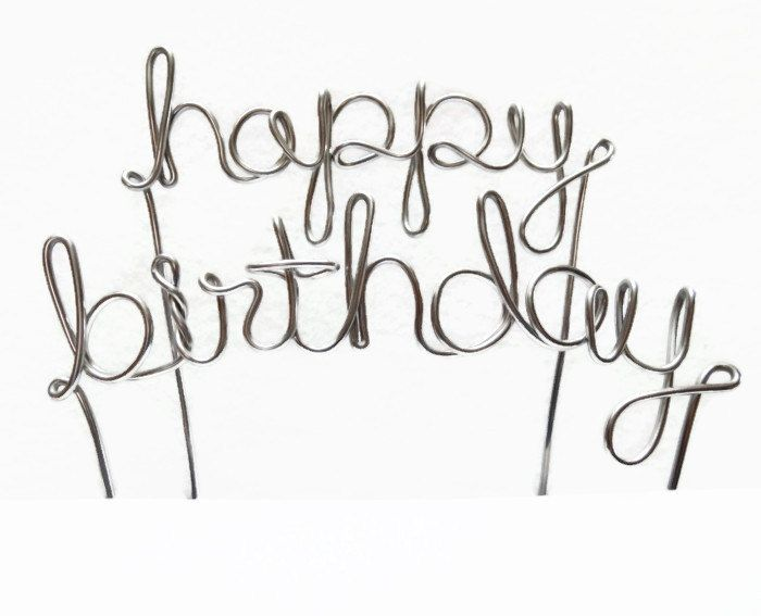 Happy Birthday Wire Cake Topper Silver Brown Gold Black Red