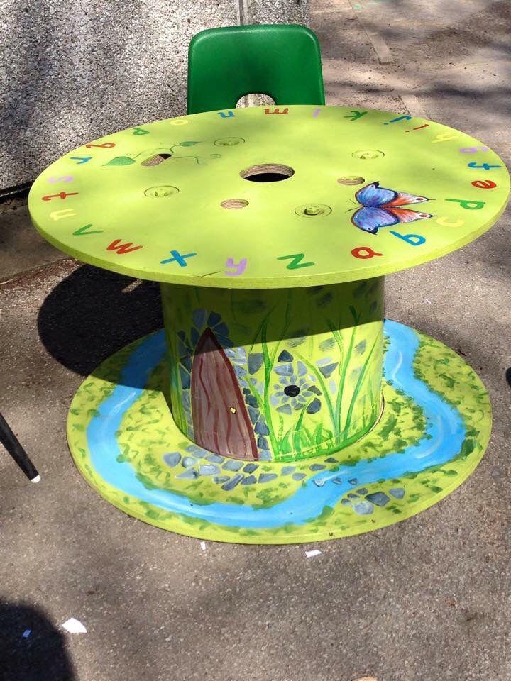 alphabet table from cable drum basteln kinder pinterest kabeltrommel m bel selber machen. Black Bedroom Furniture Sets. Home Design Ideas