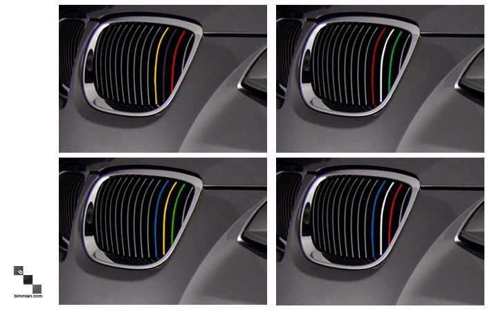 Stripes Are Also Available In Flag Colors Germany Italy Brazil - Bmw grille stripe decals