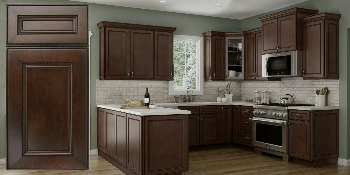 Best Rta 10X10 Alexandria Pearl Espresso Wood Kitchen Cabinets 400 x 300