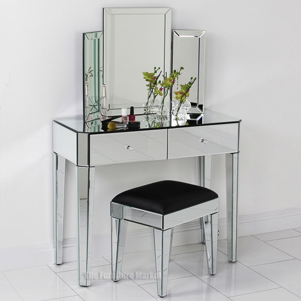 Modern dressing table with stool and mirror - Stool for vanity table ...