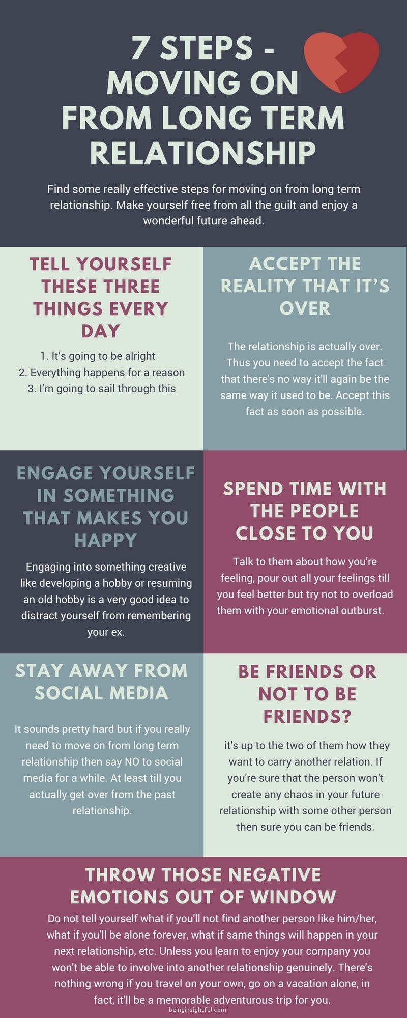7 Steps Moving On From A Long Term Relationship | Infographics