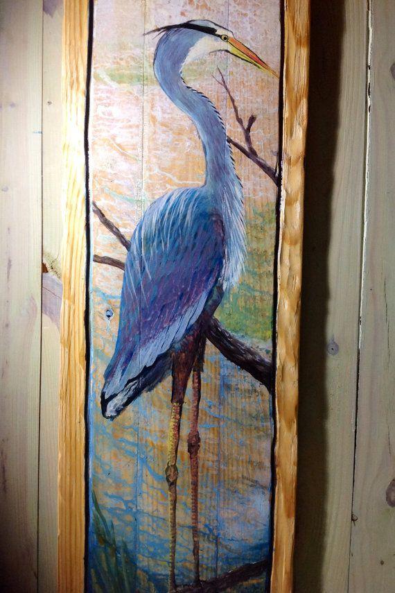 Blue Heron Painting On Reclaimed Pine Wood 4ft X 16