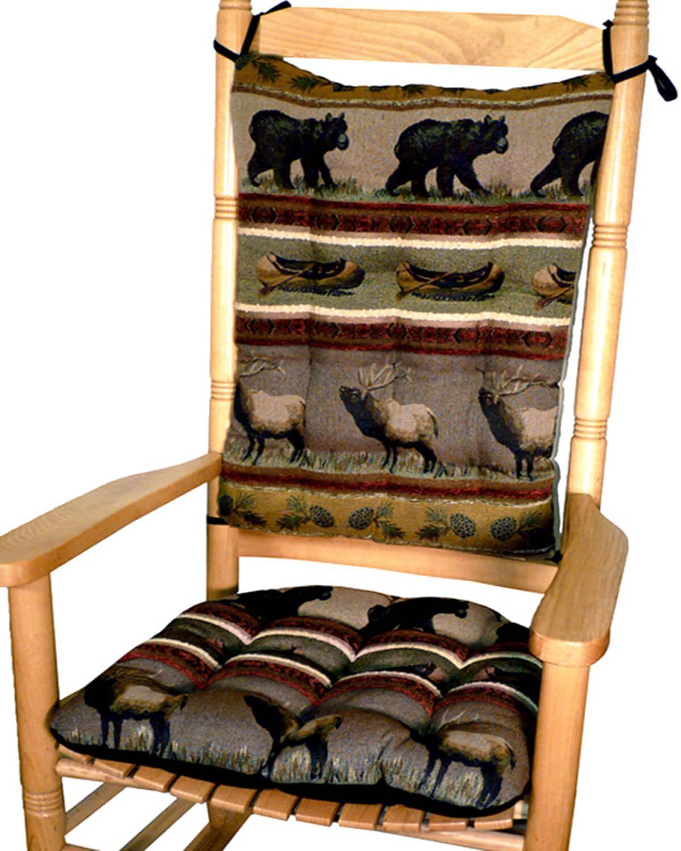 Woodlands Northwoods Rocking Chair Cushion Set Bear