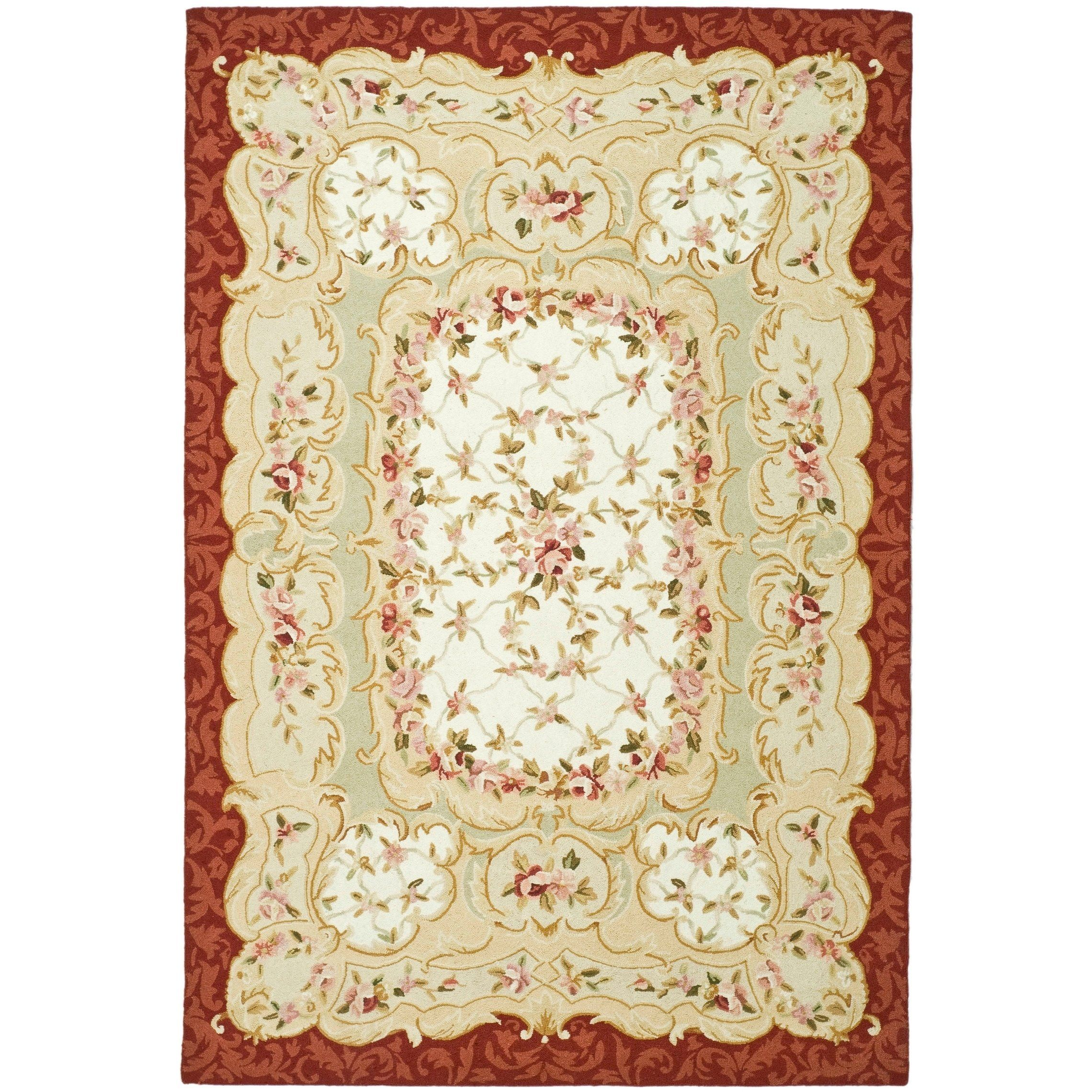 Safavieh Hand Hooked Aubusson Ivory Burgundy 100 Percent Wool Rug