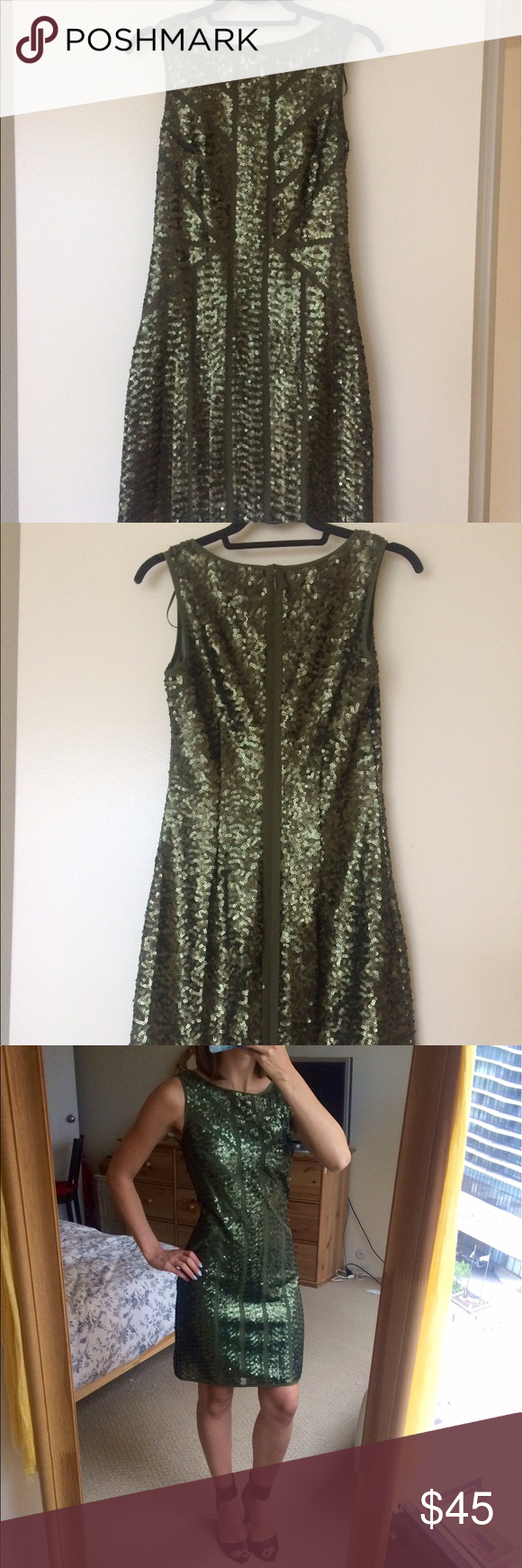 Vince Camuto Sequin Shift Dress Elegant sequin shift dress. Beautiful green color! Vince Camuto Dresses