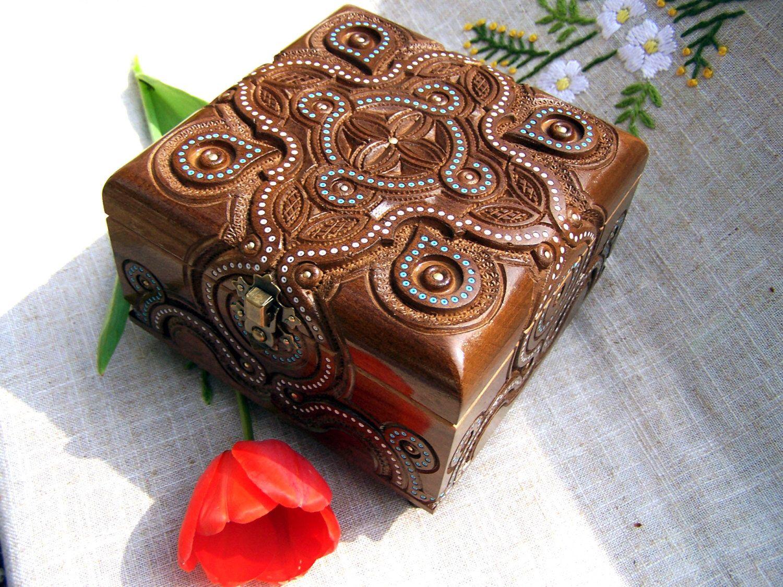 Jewelry box Wooden box Wood carving Crystals box Wood box