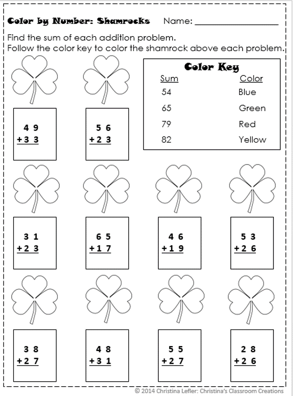 A Shamrock Math Freebie- Double-Digit Addition with a Color-by ...