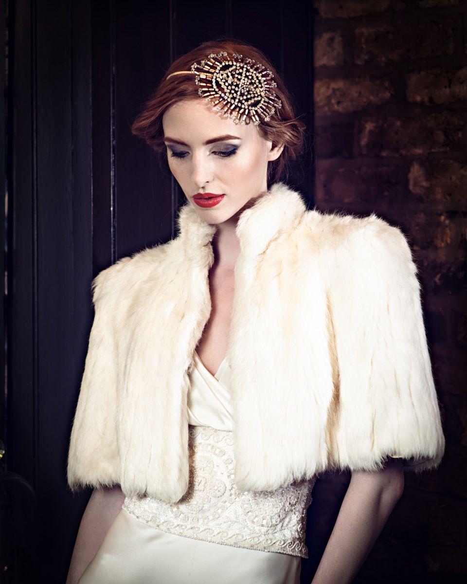 Cherished vintage bridal accessories vintage fur shrug